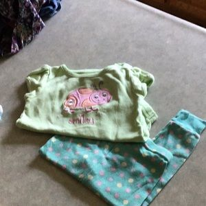 6- 9 month onesie with 12 month little pants.